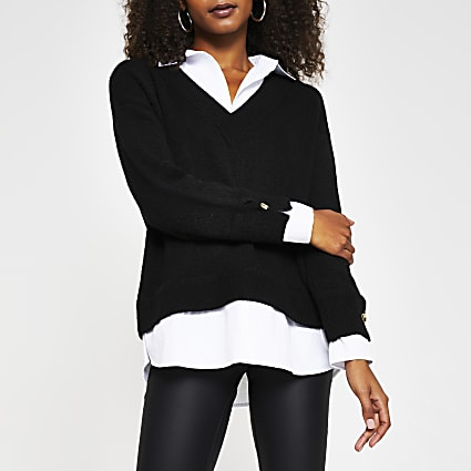Black double layer shirt jumper