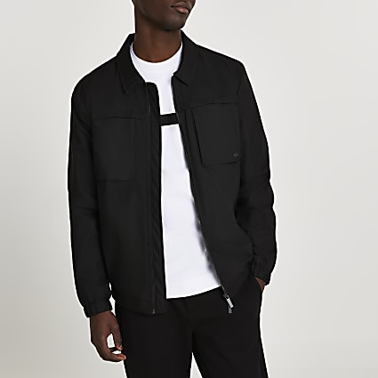 Black double pocket long sleeve shacket