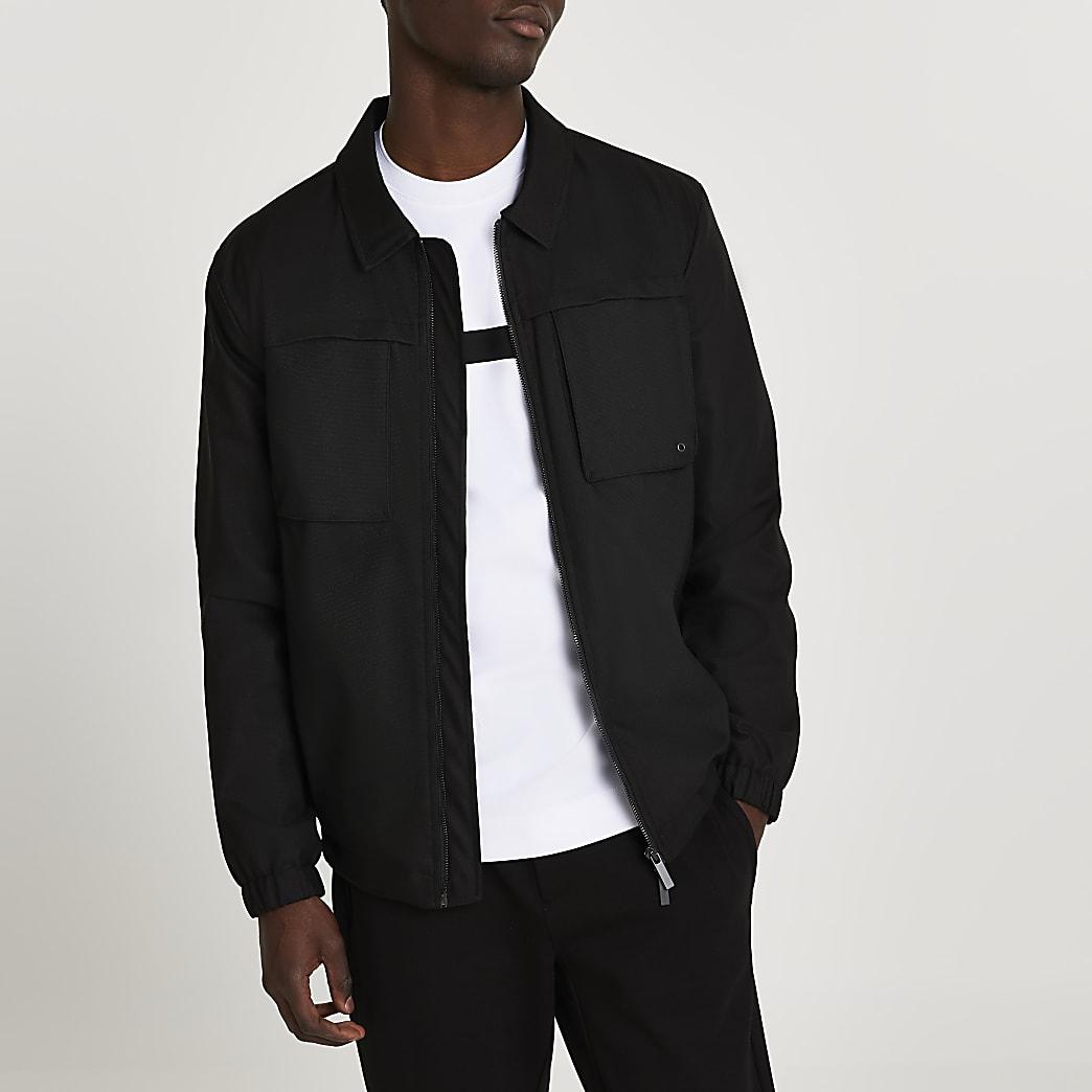 Black double pocket long sleeve shacket