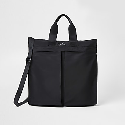 Black double pocket shopper bag