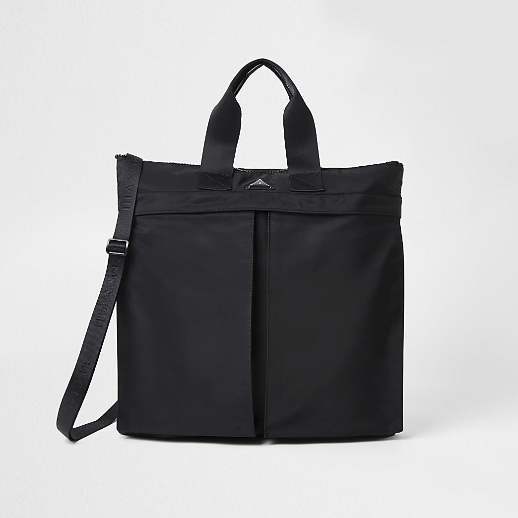 Black double pocket shopper bag