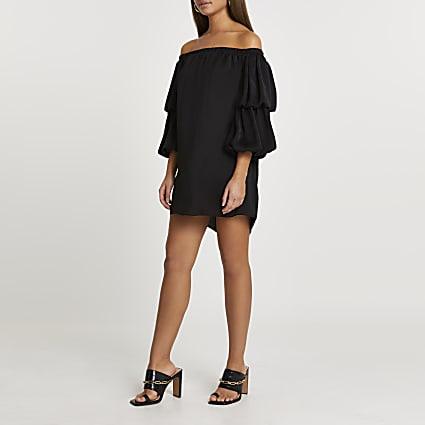 Black double puff sleeve bardot mini dress