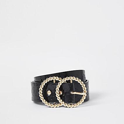 Black double ring embossed belt