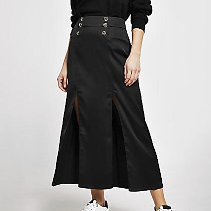 Black double split midi skirt