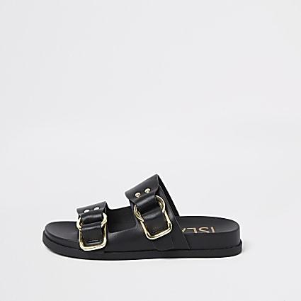 Black double strap flat sandals