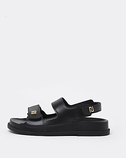 Black double strap jelly sandals
