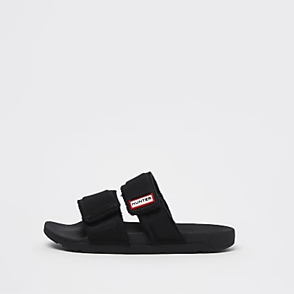 Black double strap towelling sliders
