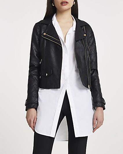 Black double zip faux leather biker jacket