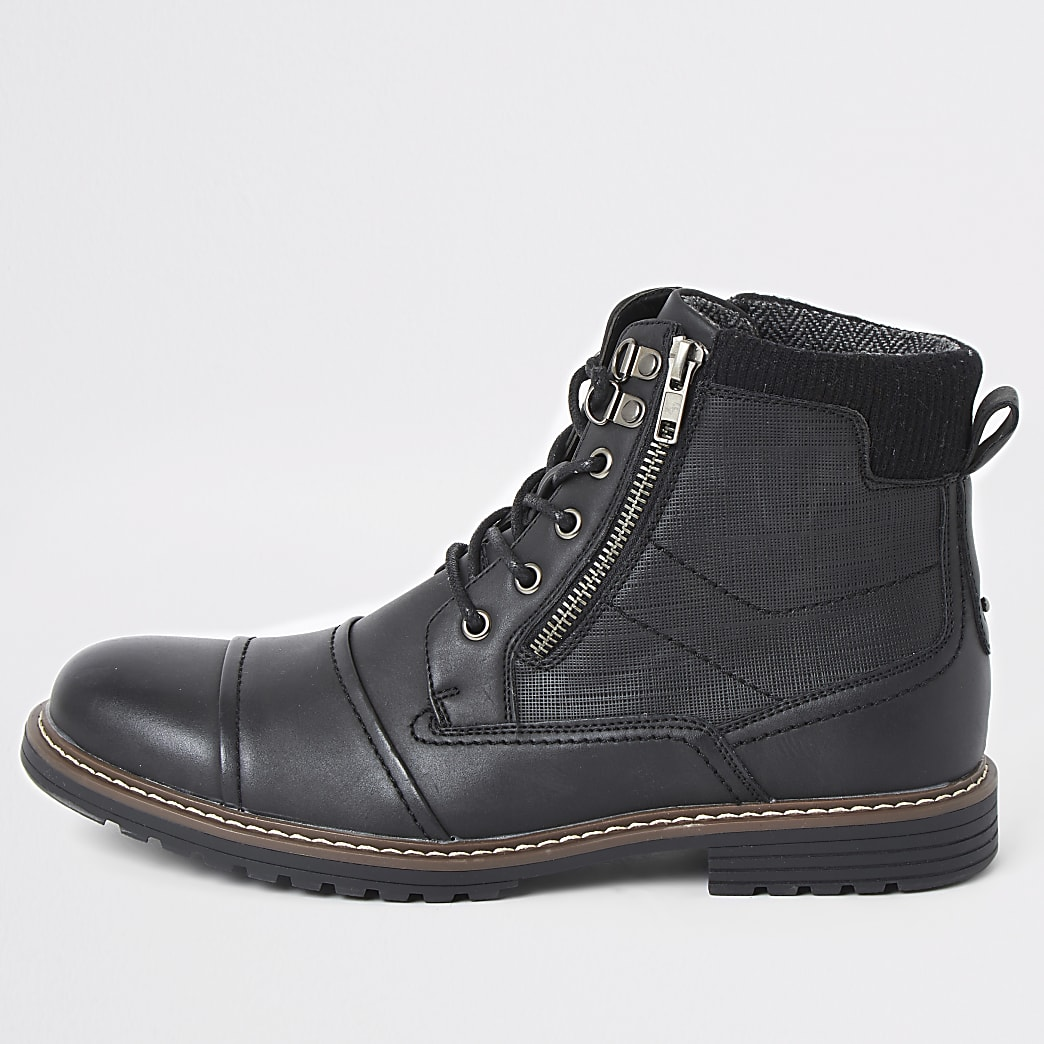 Bottes noires à lacets et double zip, coupe large