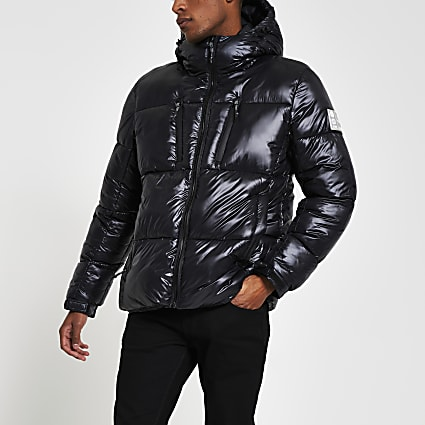 Black double zip pocket puffer jacket