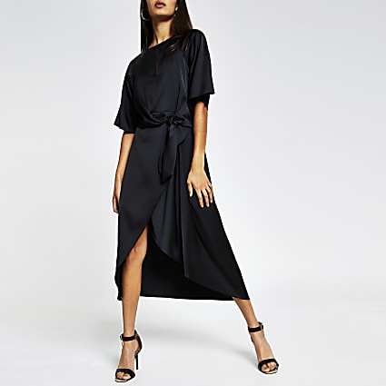 Black drape knot Front midi dress