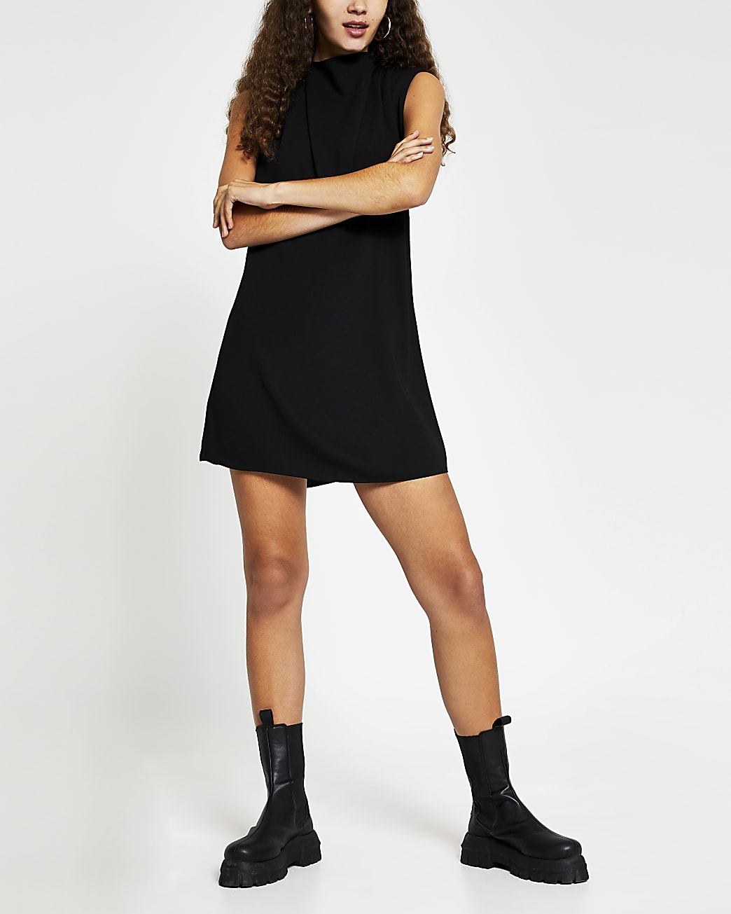 Black drape neck shift mini dress