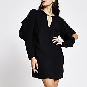 Zwarte mini-jurk met gedrapeerde mouwen