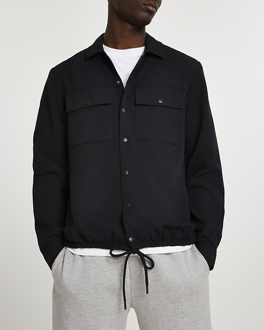 Black drawcord hem long sleeve shirt
