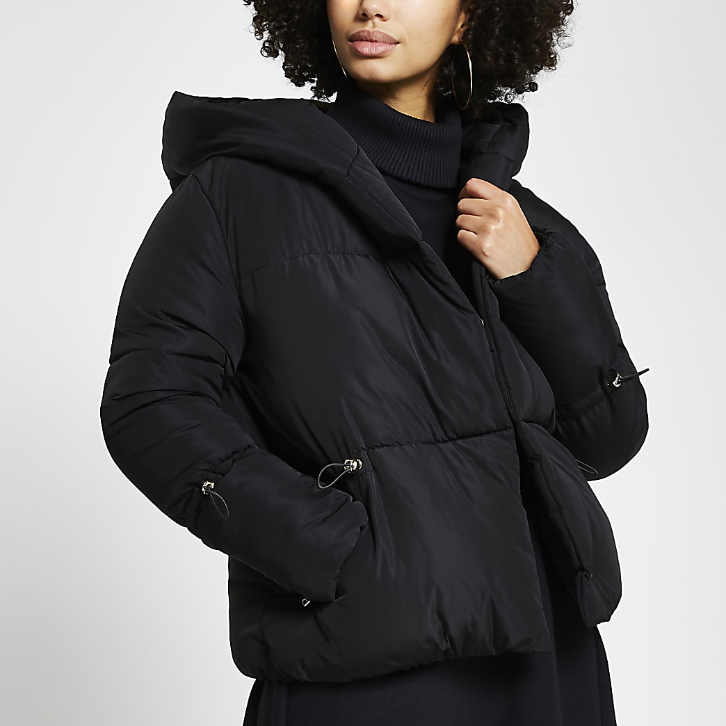 Black drawcord shawl puffer coat