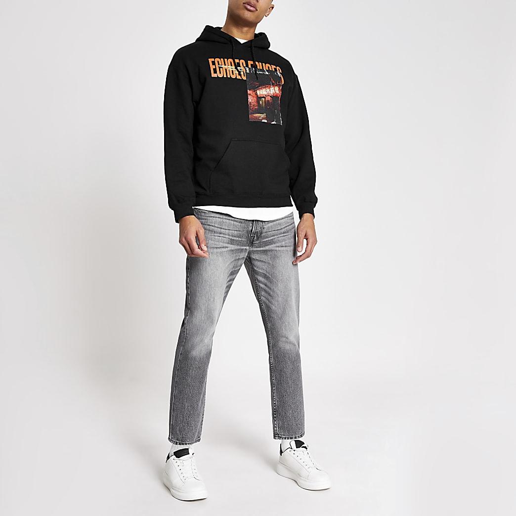 Black 'Echoes' printed regular fit hoodie