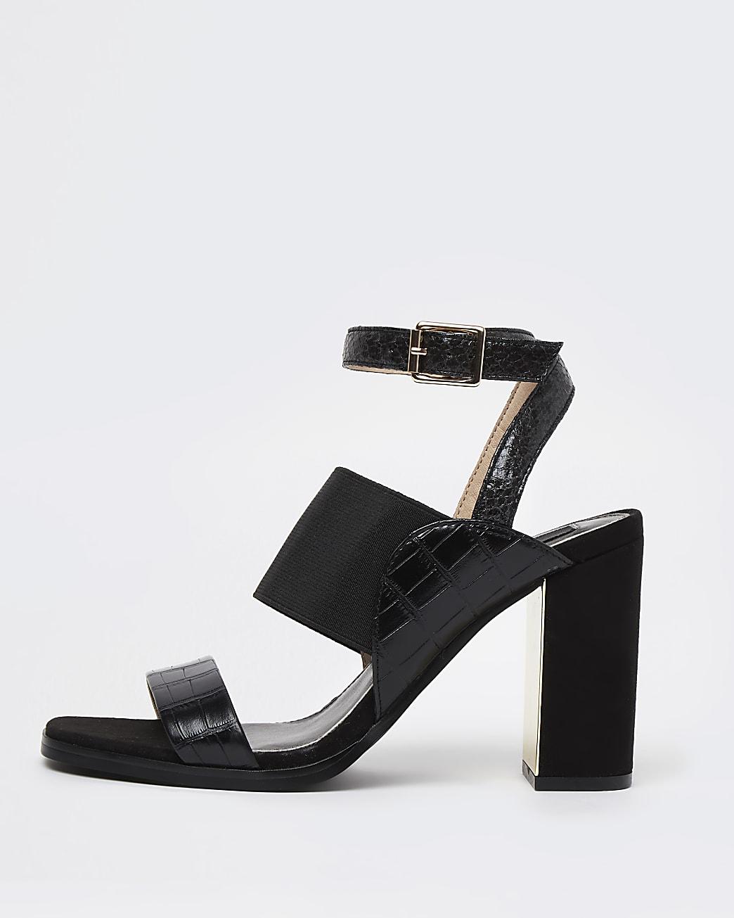 Black elastic strap block heels