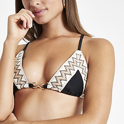 Black elastic trim triangle bikini top