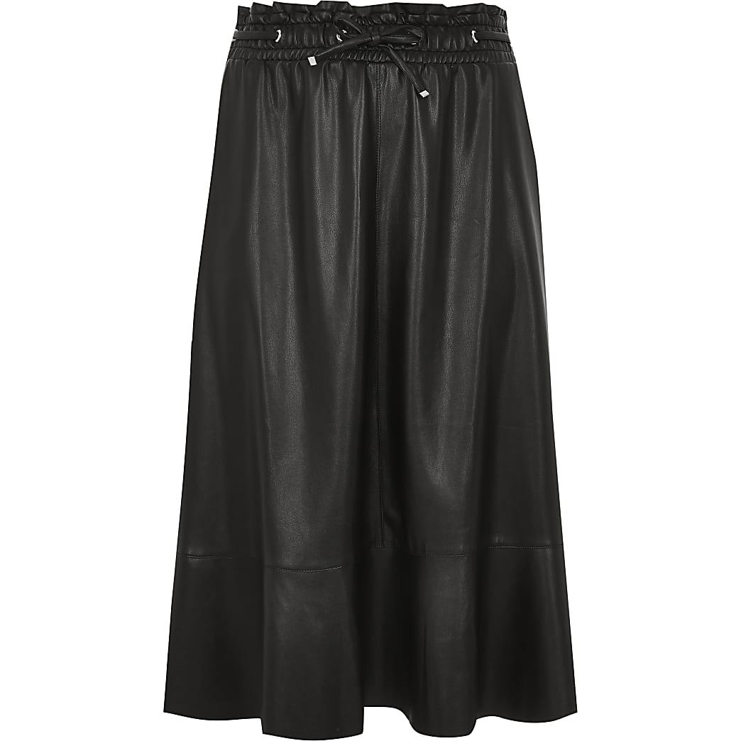 Black elastic waist midi skirt