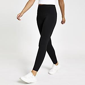 Schwarze Skinny-Leggings mit elastischem Bund