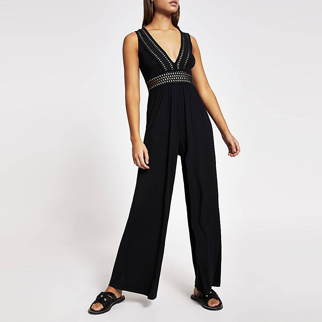 Black elasticated plunge neck beach jumpsuit