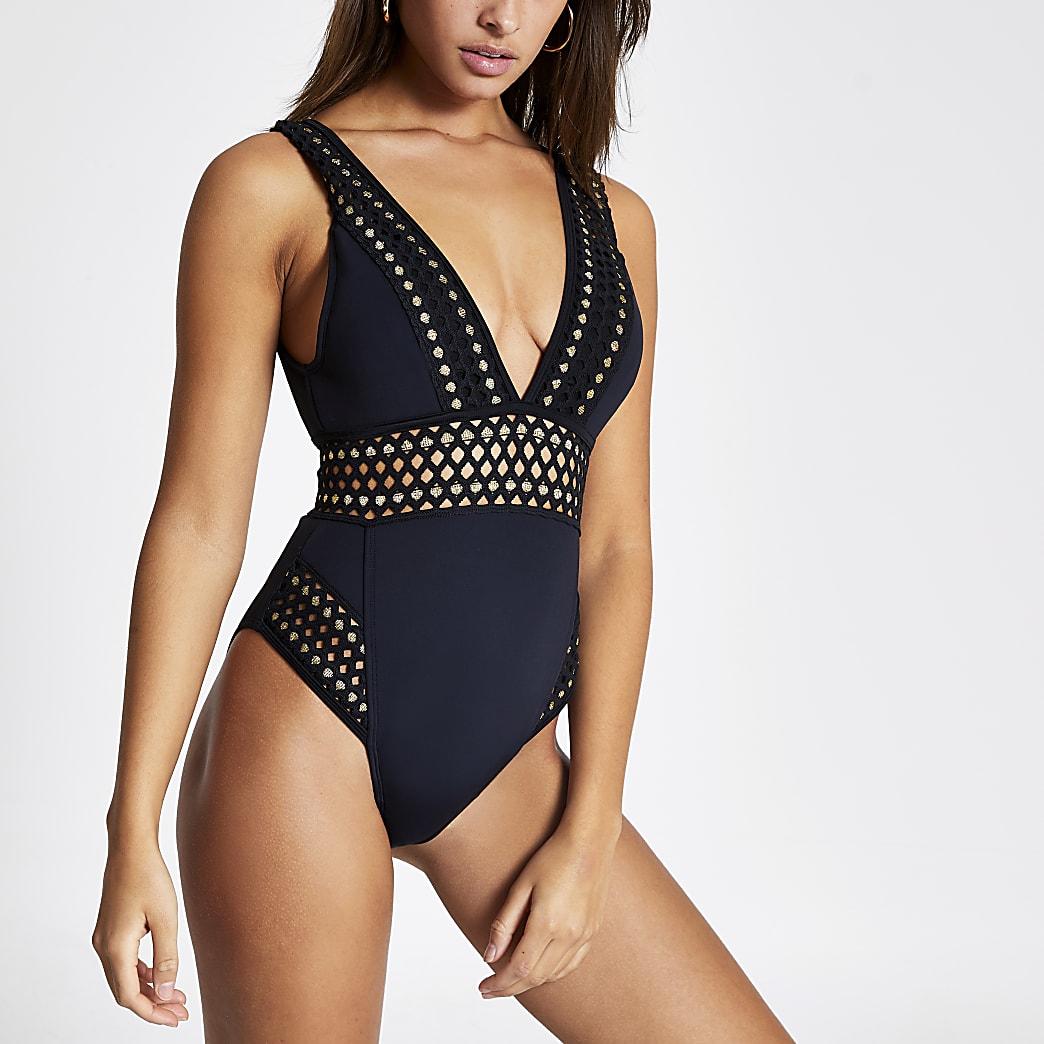 Black elasticated plunge scuba swimsuit