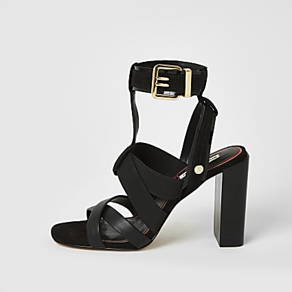 Black elasticated strap block heel sandals