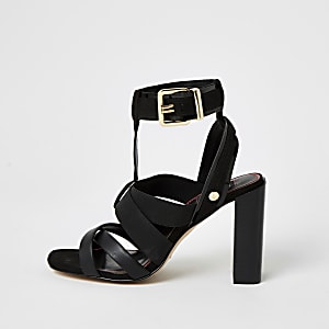 Black elasticated strap wide fit sandals