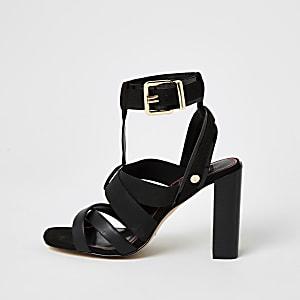 Sandales avec bride élastique noires, coupe large