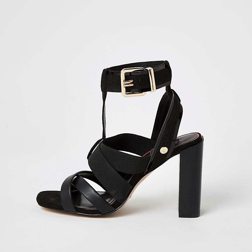 Zwarte wide fit sandalen met elastische bandjes