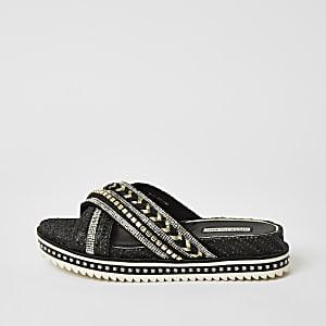 Black embellish cross strap flatform sandals