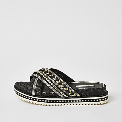 Black embellish cross strap flatform sandals