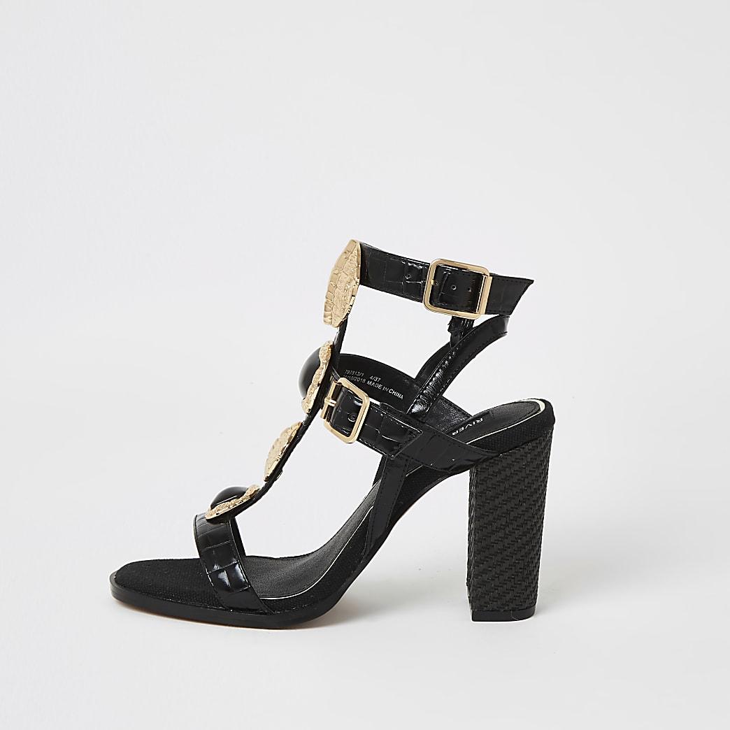 Black embellish gladiator block heel sandals