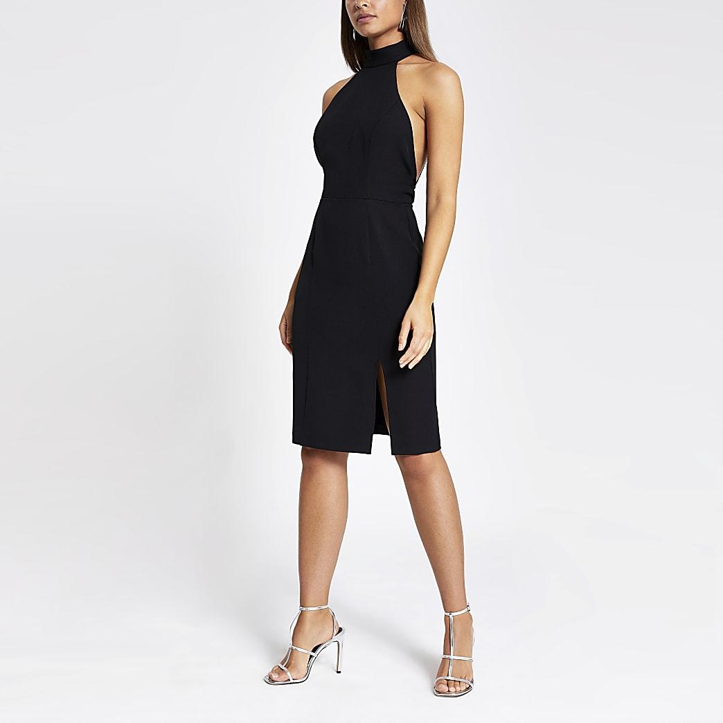 Black embellished back bodycon dress