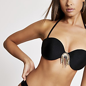 Black embellished balconette bikini top
