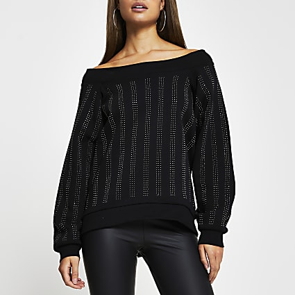 Black embellished bardot long sleeve top