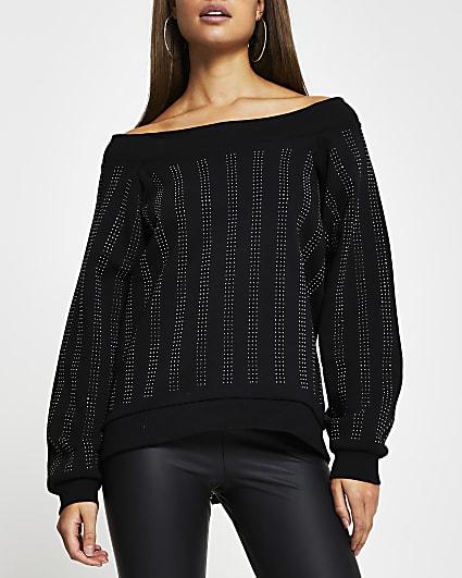 Black embellished bardot long sleeve top