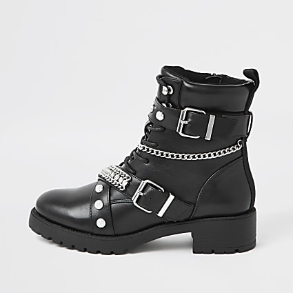 Black embellished biker lace up boots