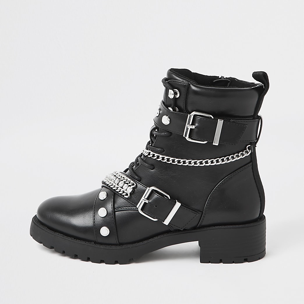 Black embellished biker lace up boots