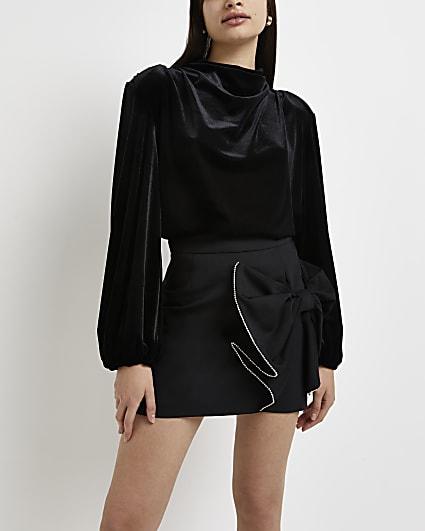Black embellished bow mini skirt
