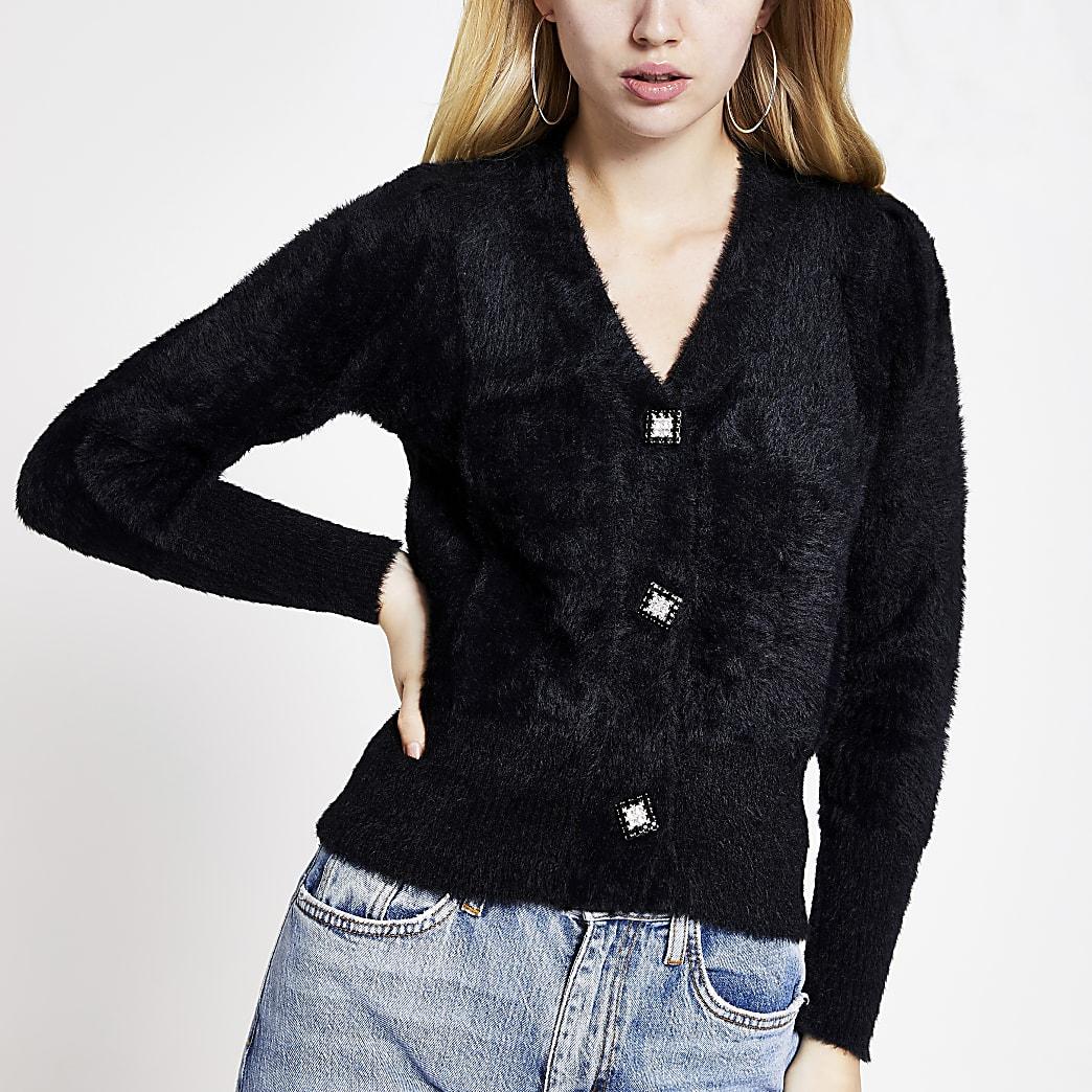 Black embellished button fluffy knit cardigan