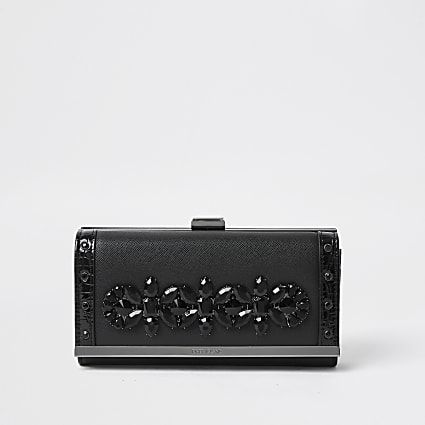 Black embellished clip top purses