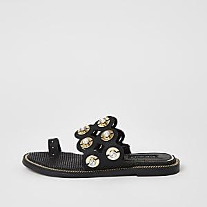 Zwarte verfraaide sandalen met open teen