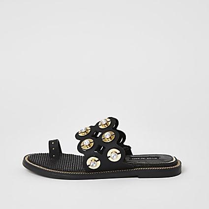Black embellished cut out toe sandals