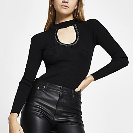 Black embellished cut out top