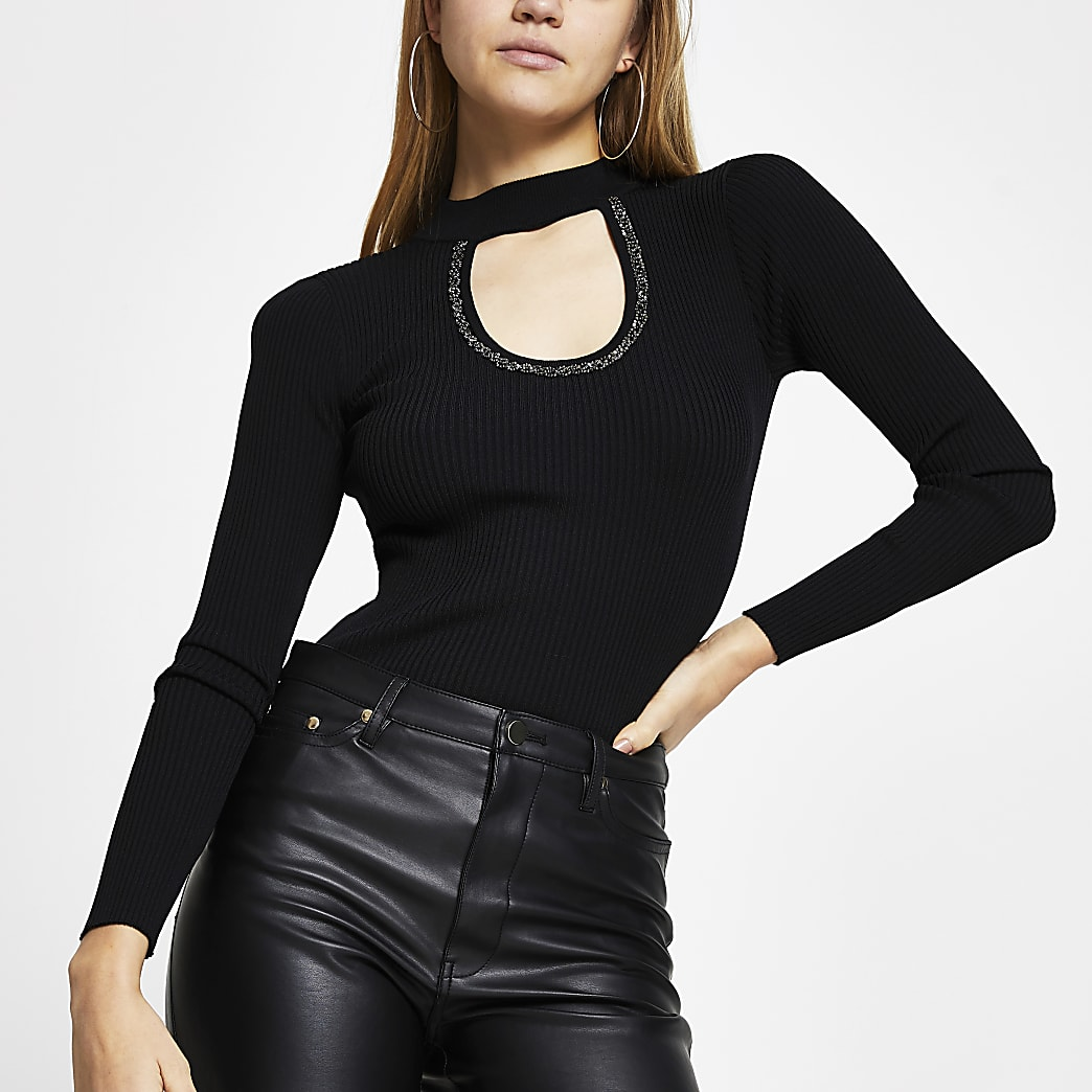 Black embellished cut out top