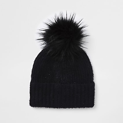 Black embellished faux fur pom pom beanie hat