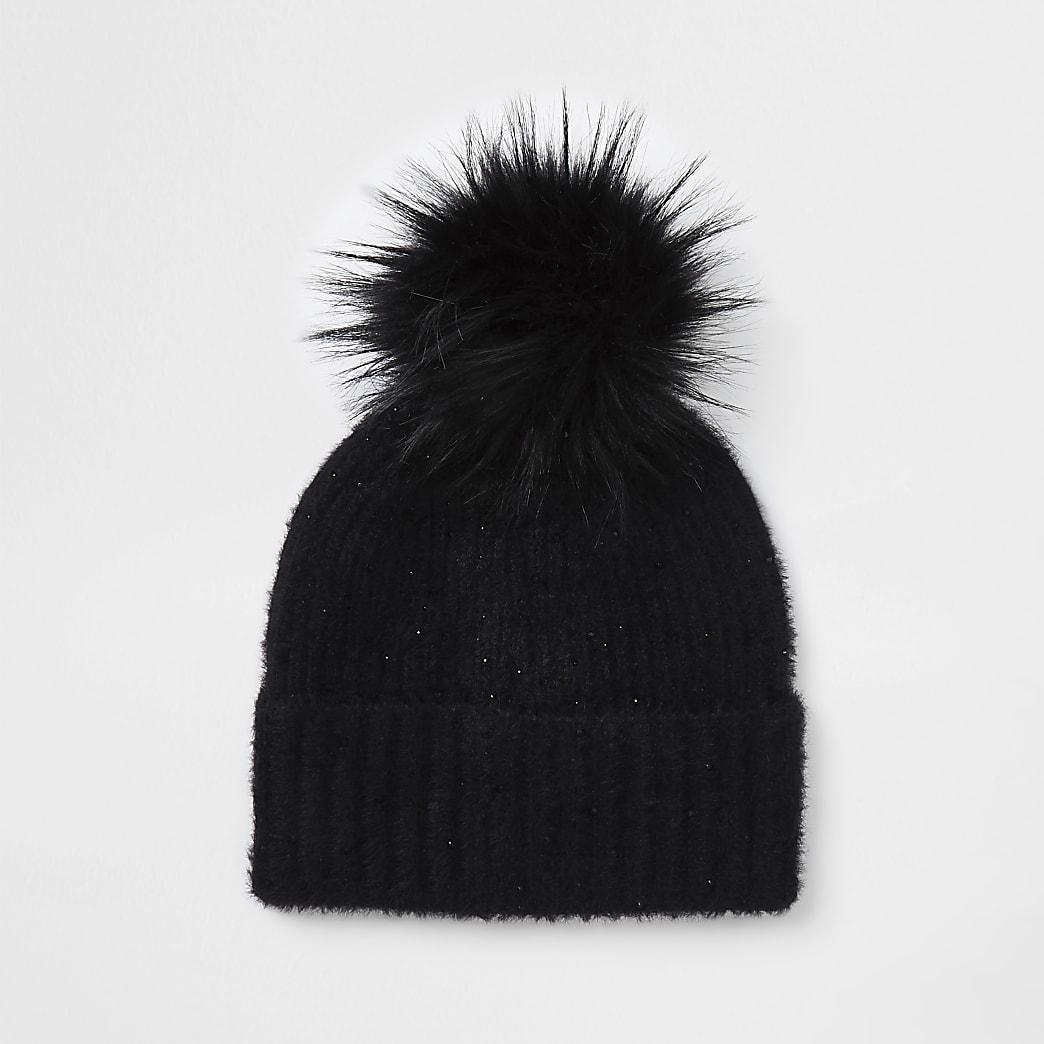 Black embellished faux fur pom pom beanie hat