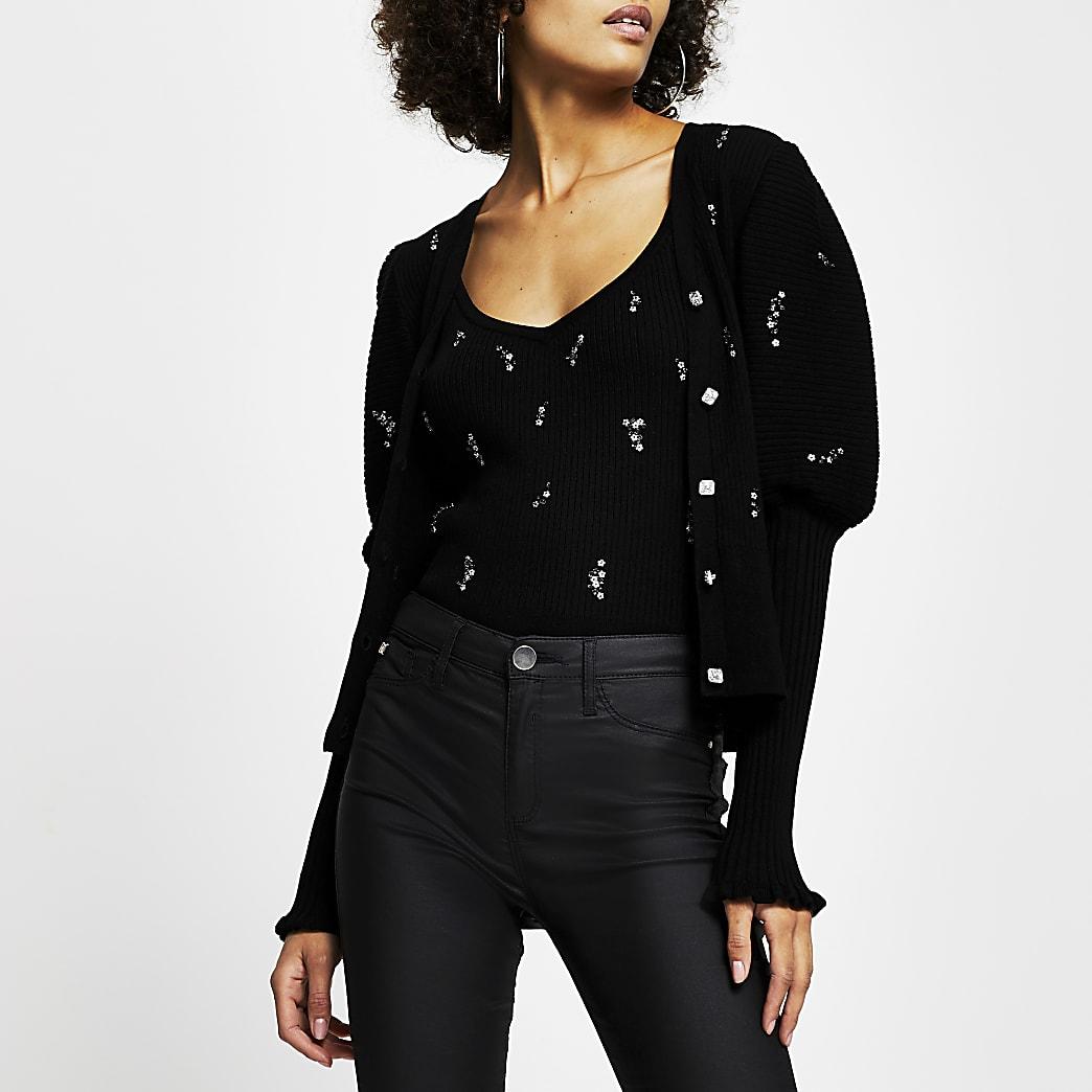 Black embellished frill cuff cardigan