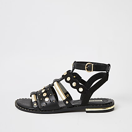 Black embellished gladiator sandals